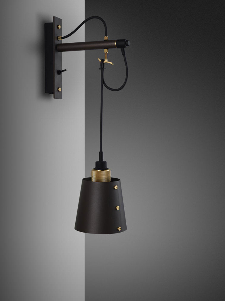 Hooked Wall Small with Shade - Graphite and Brass