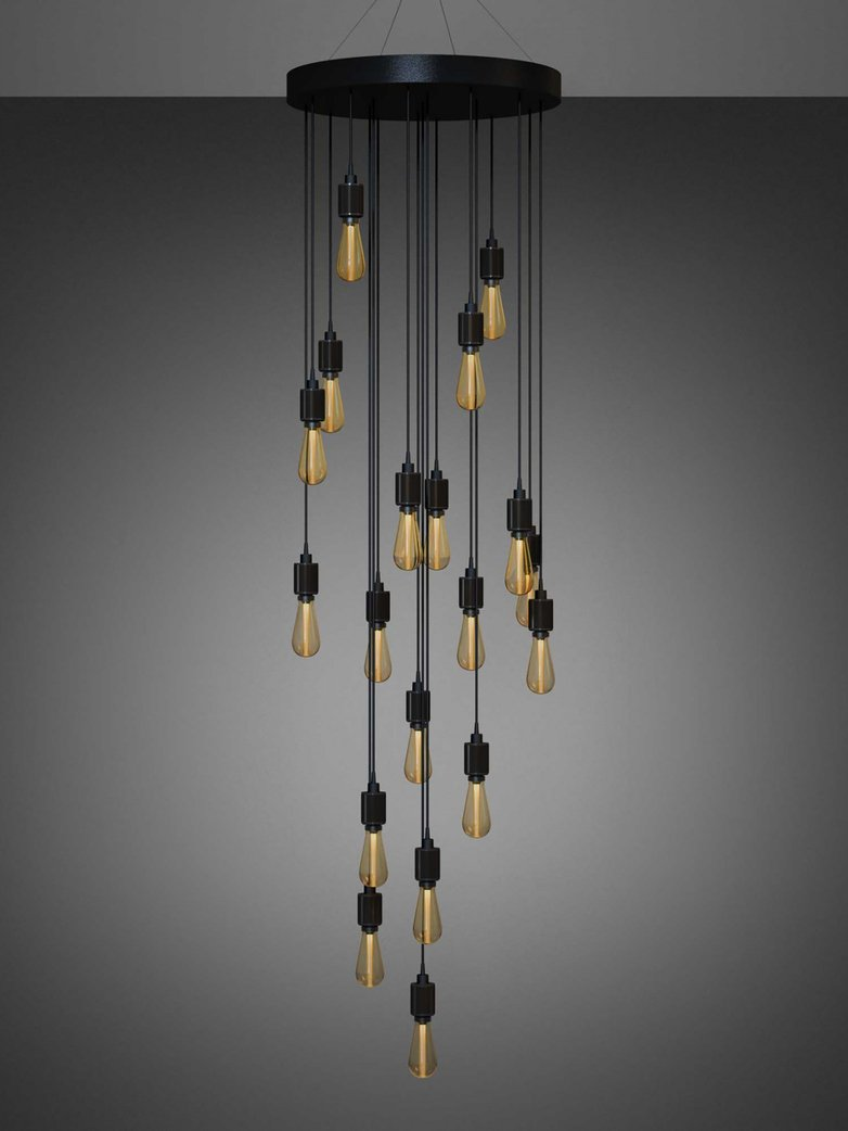 Heavy Metal Chandelier Cascade 19 Pendants