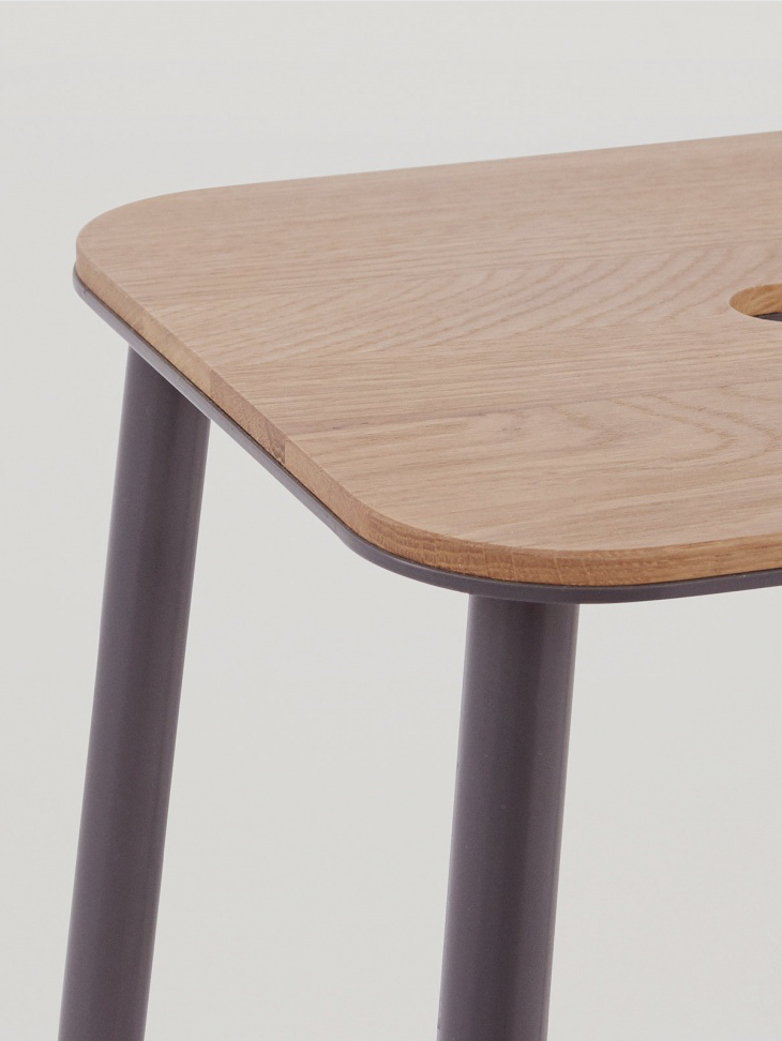 Adam Stool  Oak - Grey