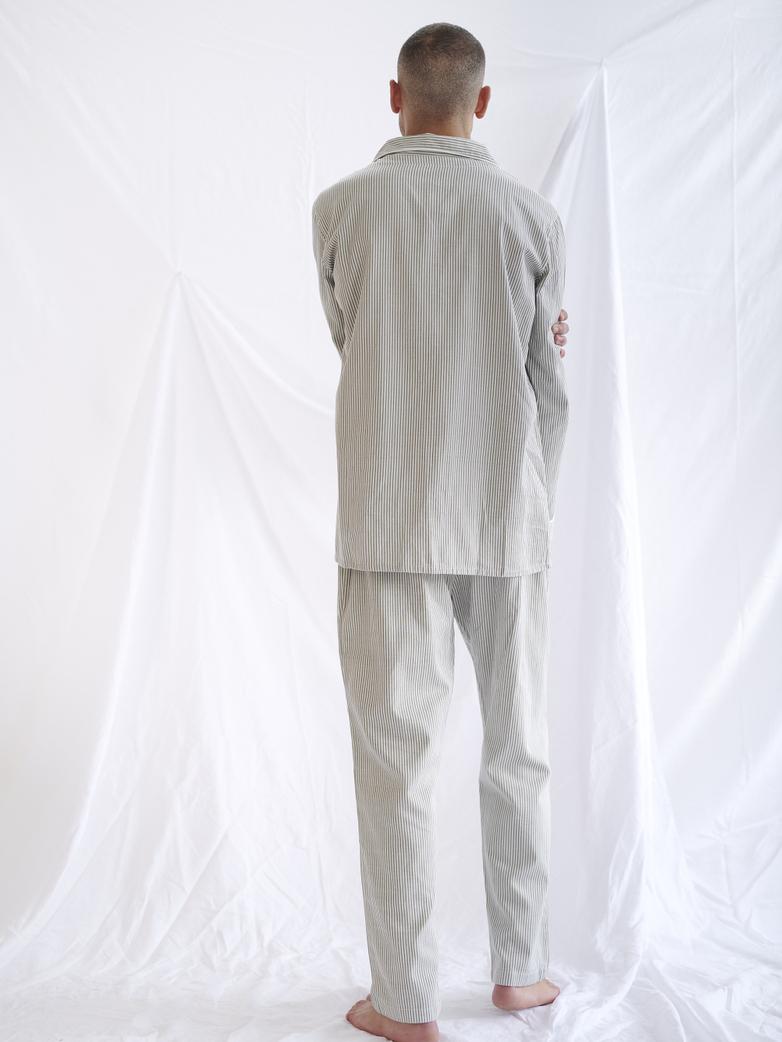 Pyjama Shirt – Concrete/White