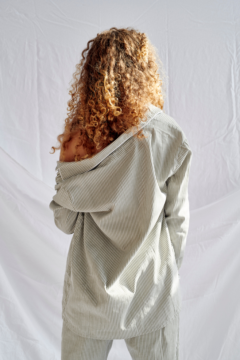 Pyjama Shirt – Concrete/White – V