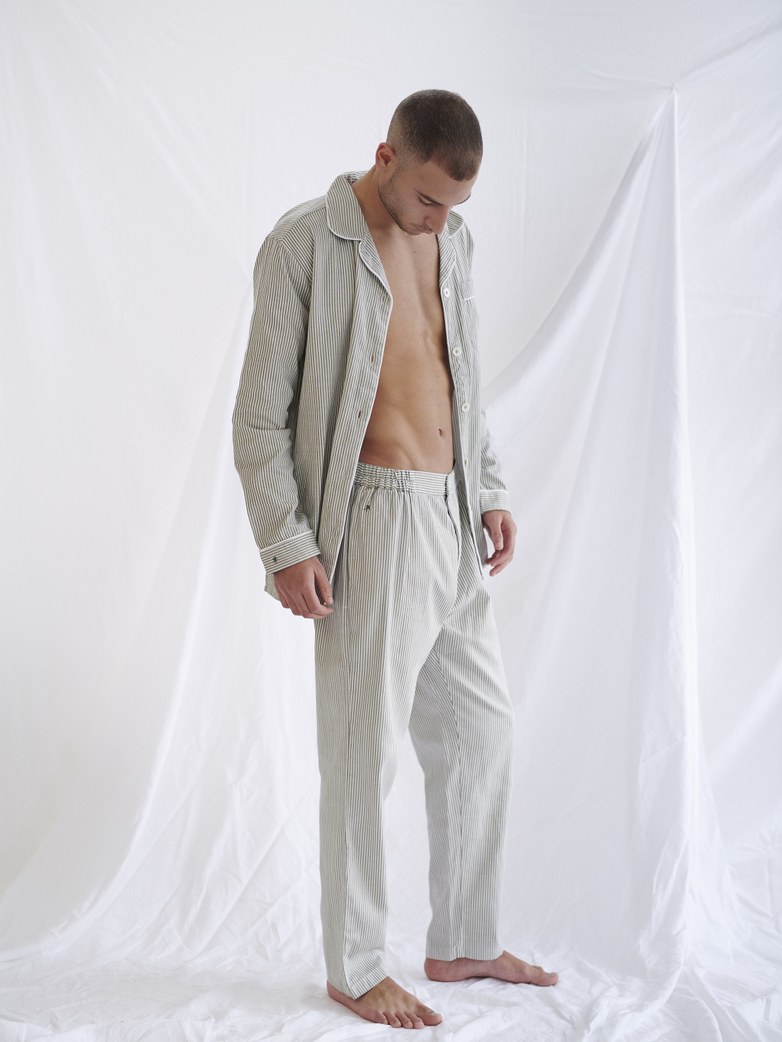 Button Trousers – Concrete/White – II