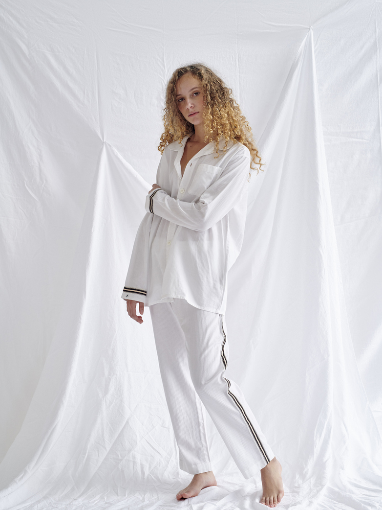 Pyjama Shirt – White/Sand/Black – II