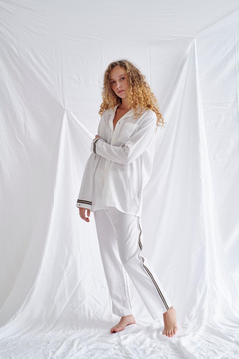 Pyjama Shirt – White/Sand/Black – IV