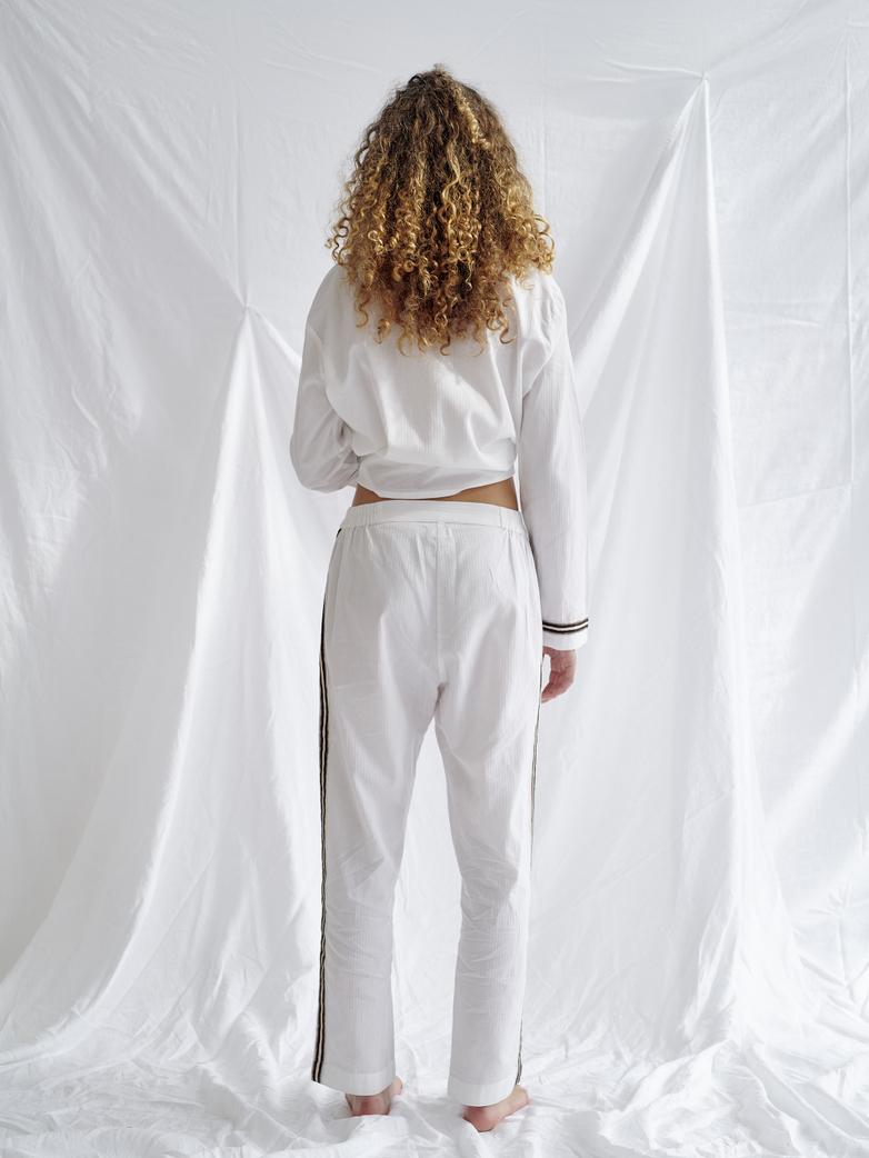 Button Trousers Single Stripe – White/Sand/Black