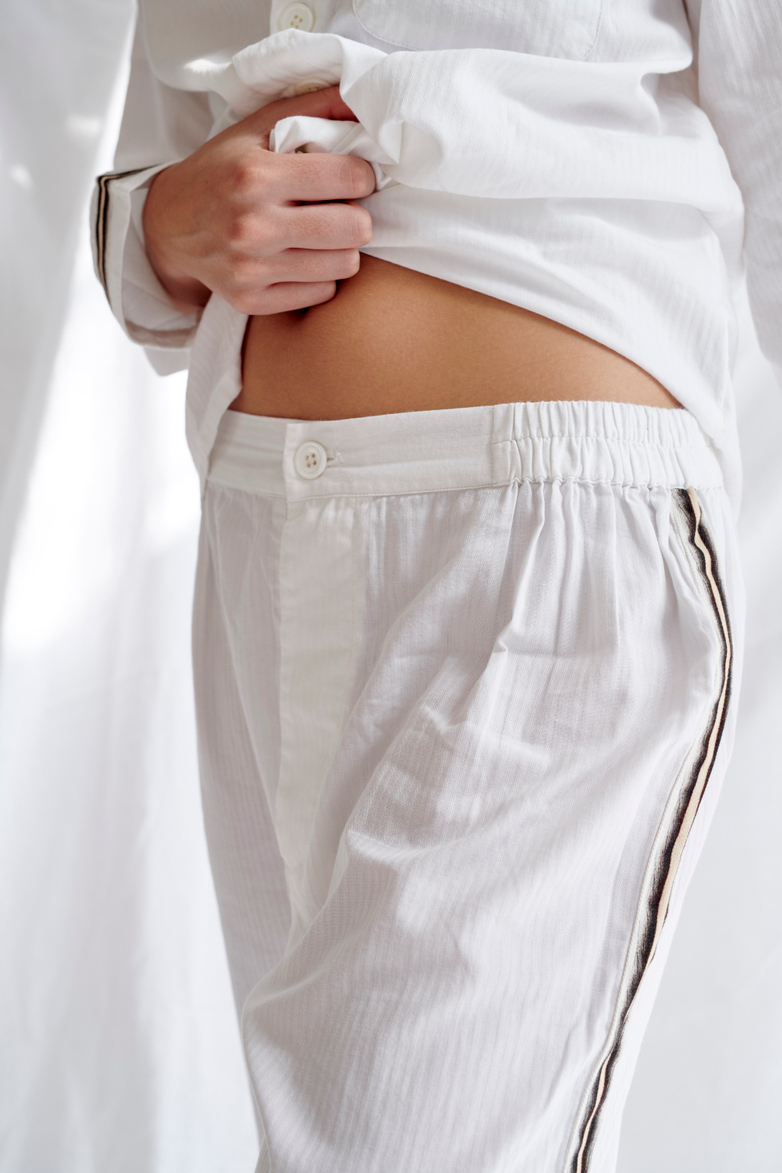 Button Trousers Single Stripe – White/Sand/Black – III
