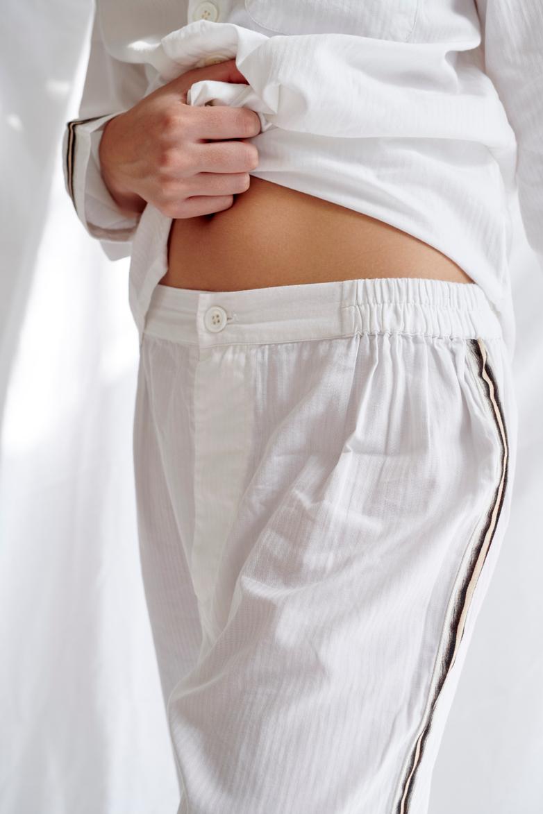 Button Trousers Single Stripe – White/Sand/Black – V
