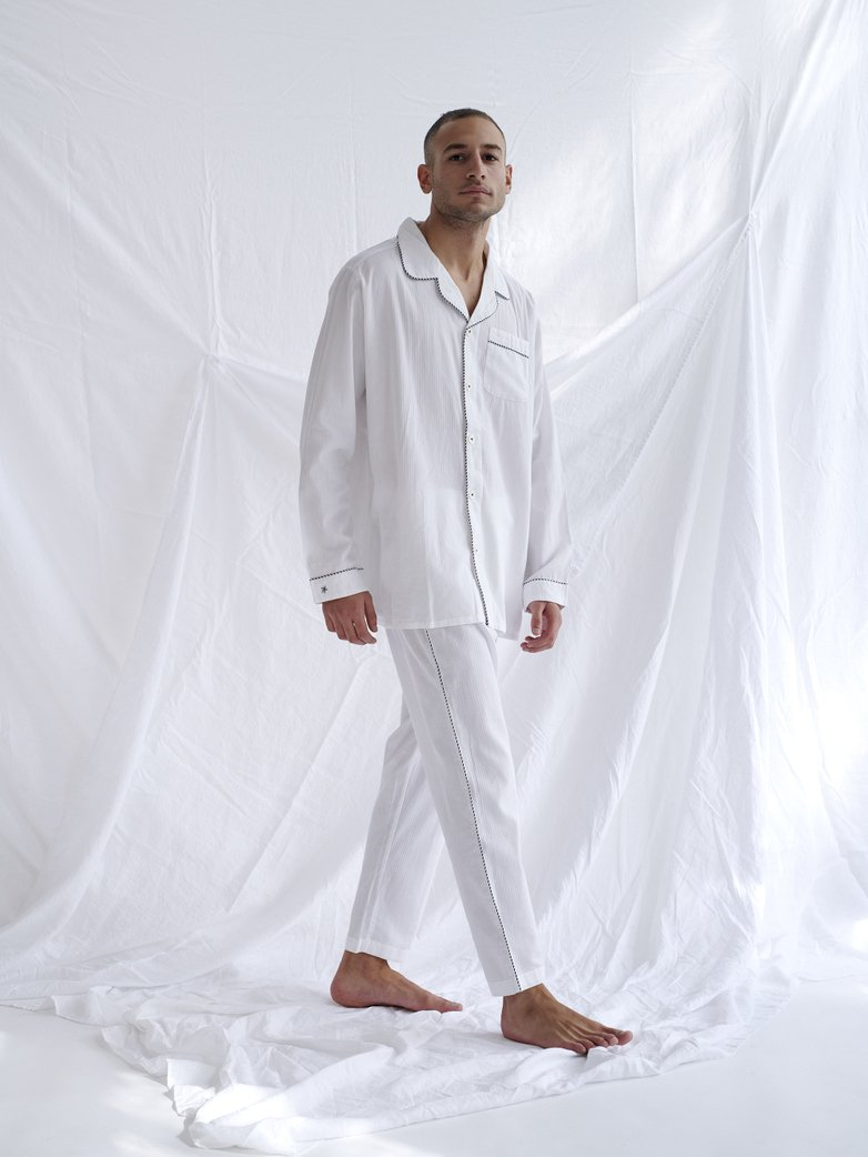 Pyjama Shirt – White/Coffee/White – II