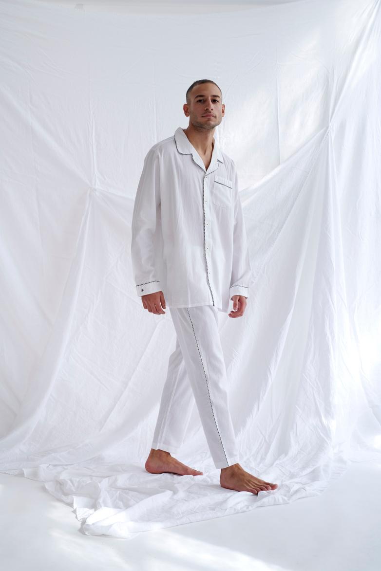 Pyjama Shirt – White/Coffee/White – IV