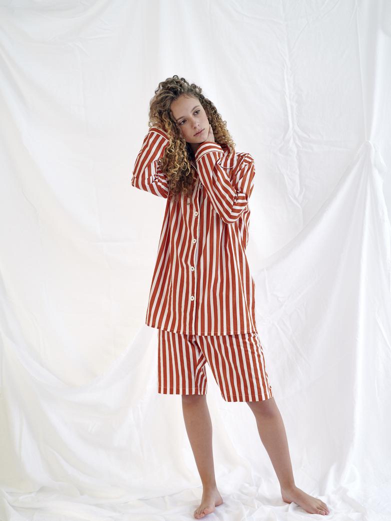 Pyjama Shirt – Caramel/White – II