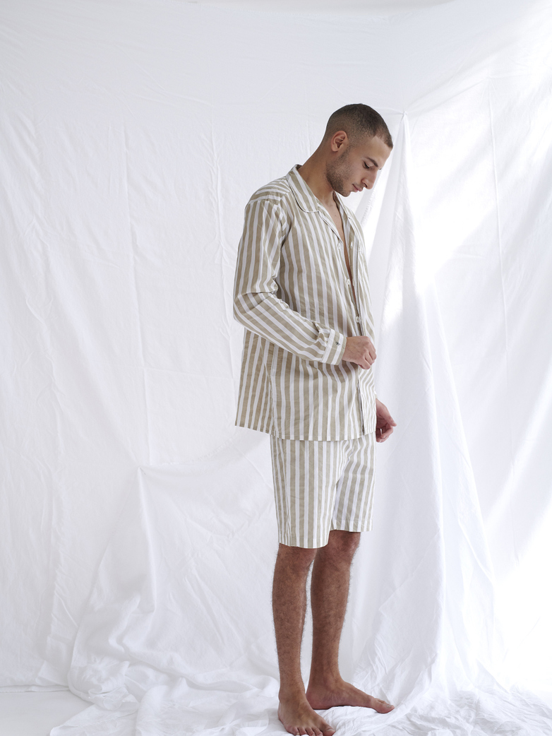 Pyjama Shirt Wide Stripes – Concrete/White – II
