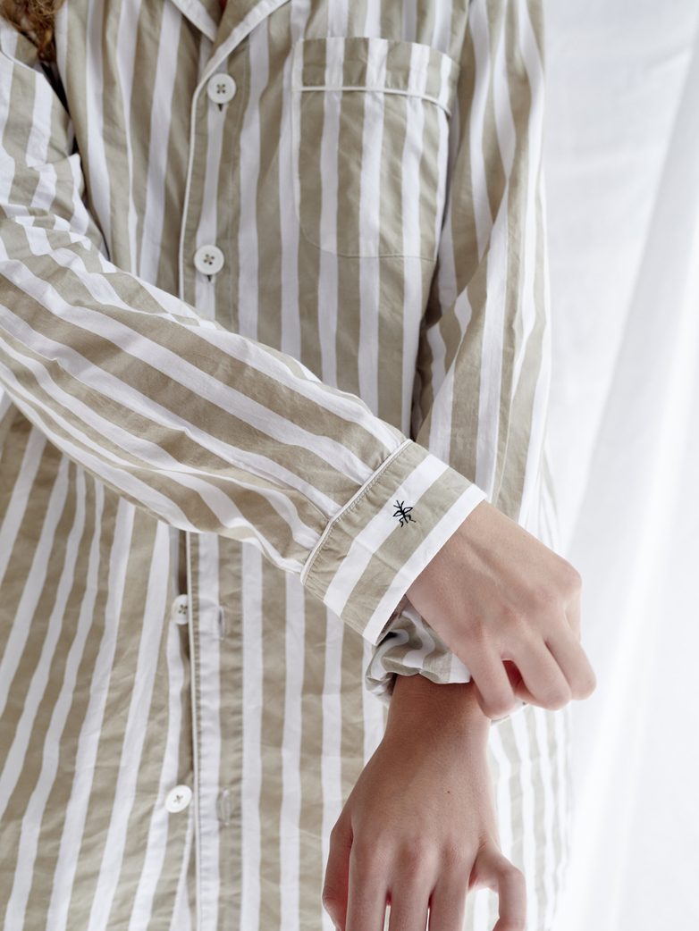 Pyjama Shirt Wide Stripes – Concrete/White