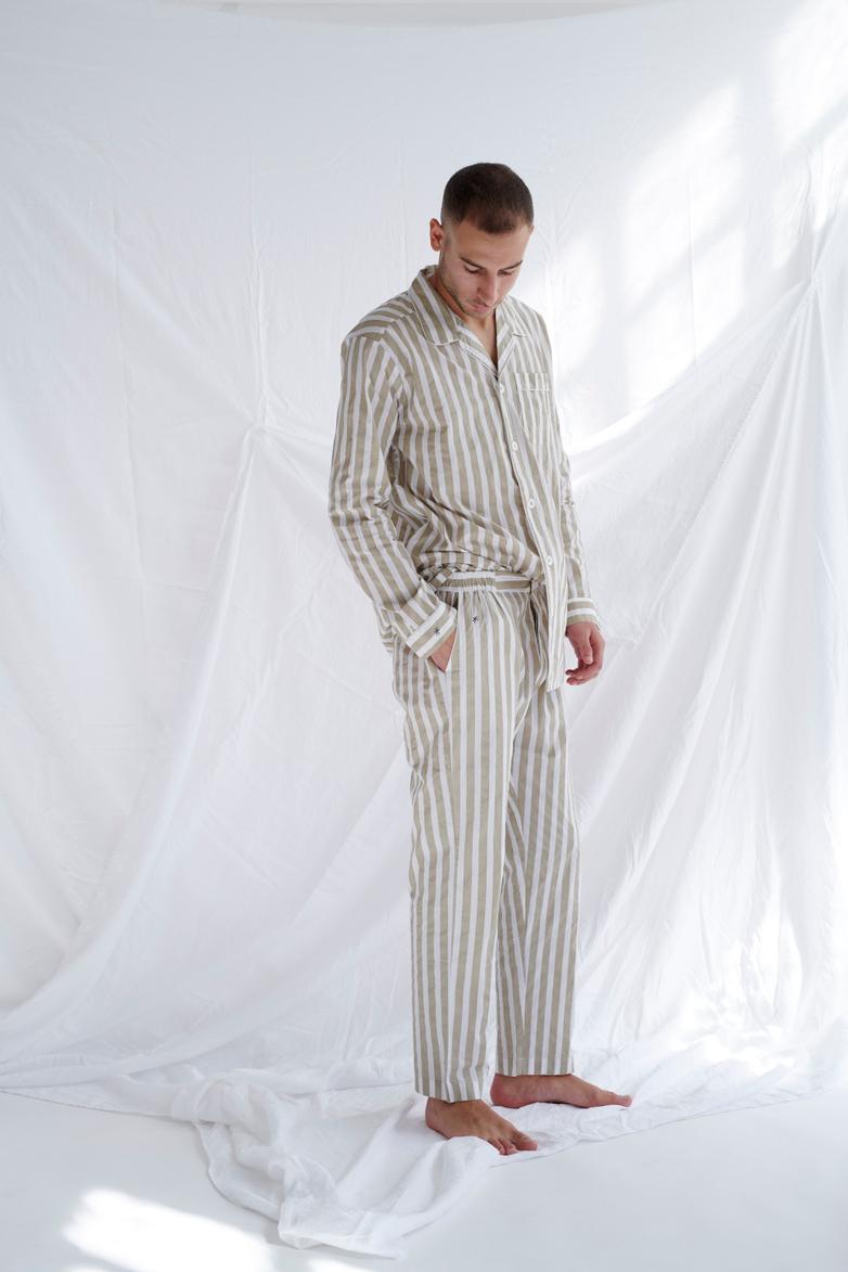 Pyjama Shirt Wide Stripes – Concrete/White – V