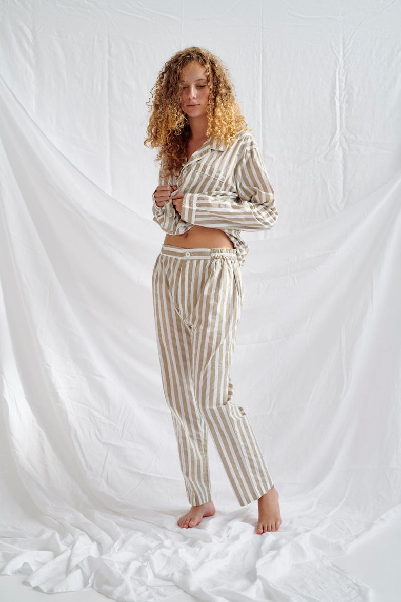 Button Trousers Wide Stripes – Concrete/White – IV