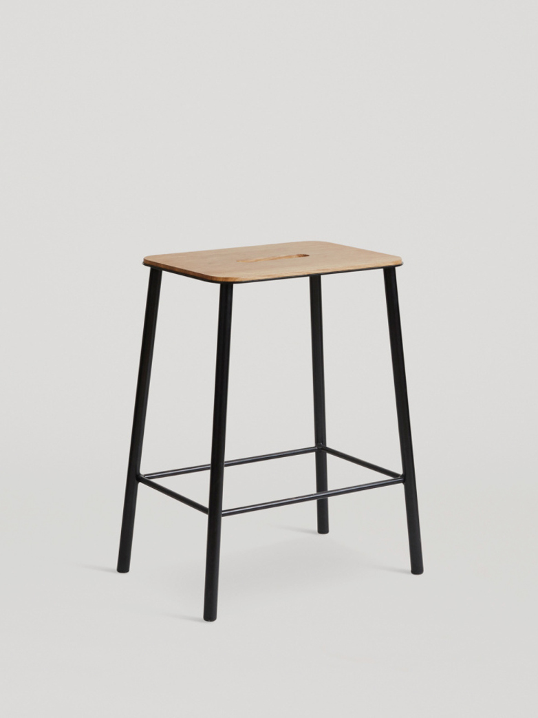 Adam Stool Oak - Matt Black