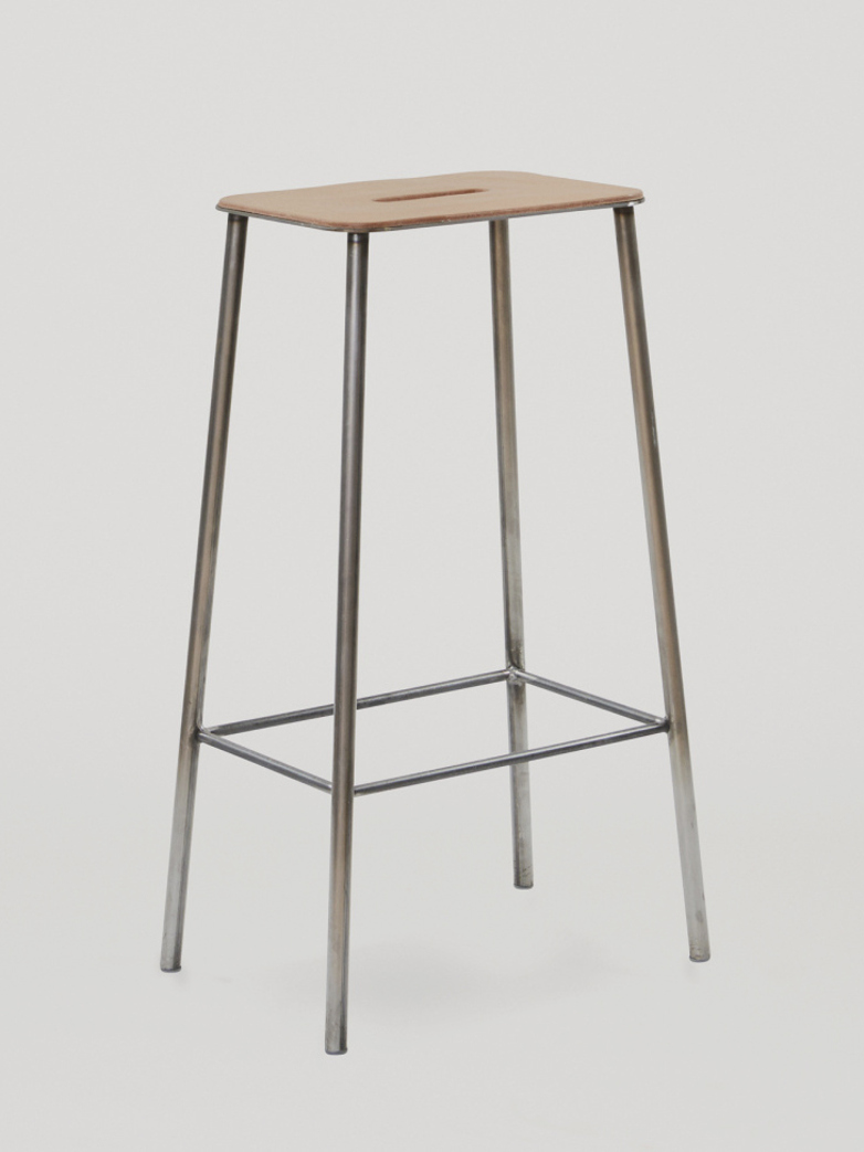 Adam Stool Leather - Raw Steel