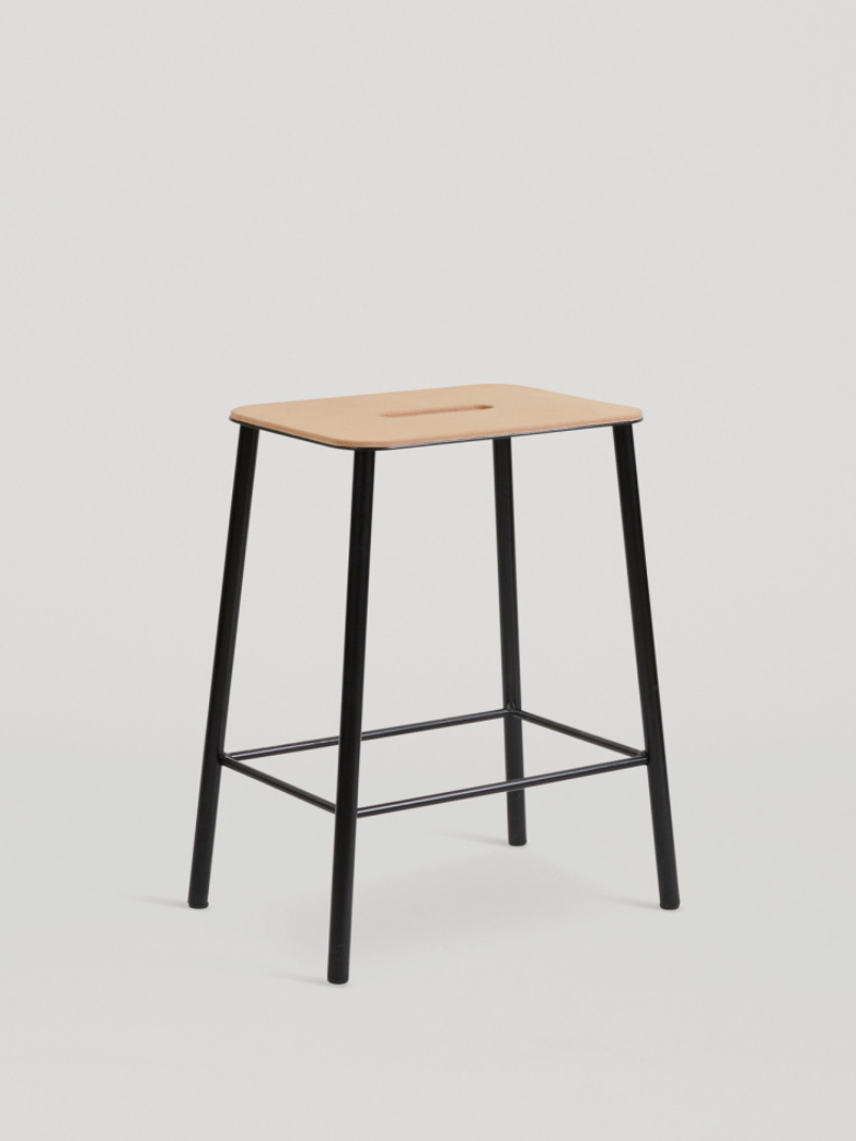 Adam Stool Leather - Matt Black