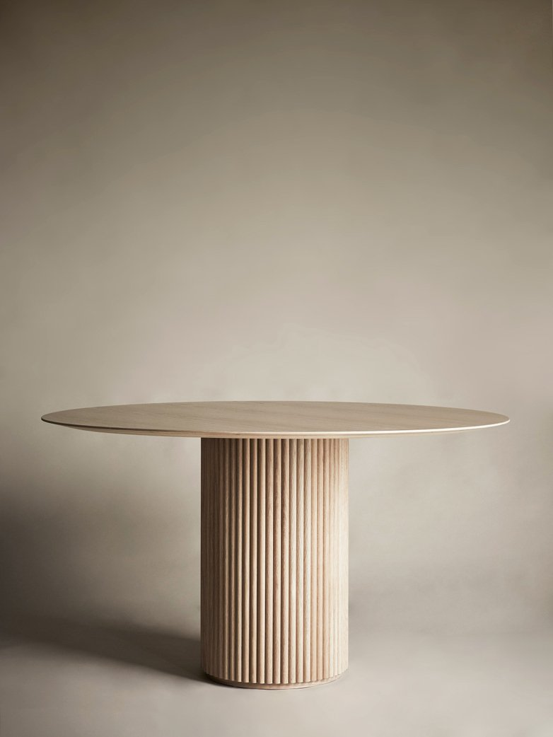 Palais Royal Dining Table - White Stained Oak Base and Top