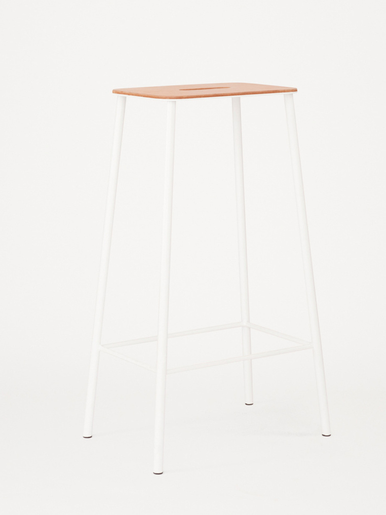 Adam Stool Leather - Matt White