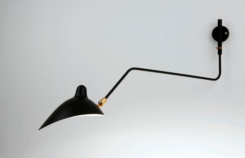 Wall Lamp with One Rotating Curved Arm