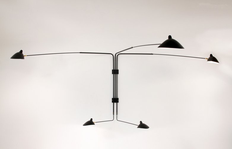 Wall Lamp with Five Rotating Straight Arms