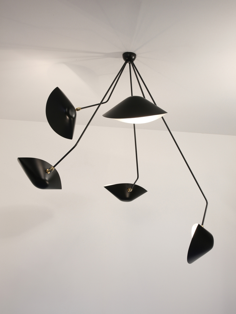 Ceiling Lamp with Five Angeled Arms