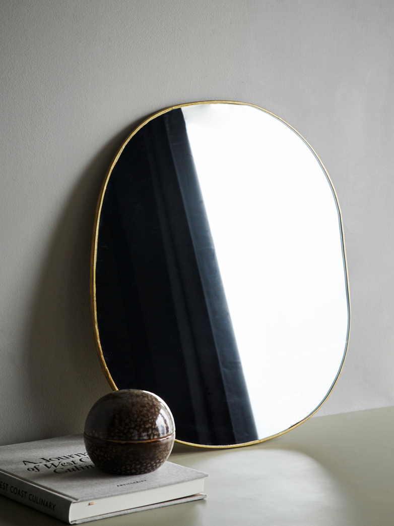 Ame Hand Crimped Brass Mirror 54x56 cm