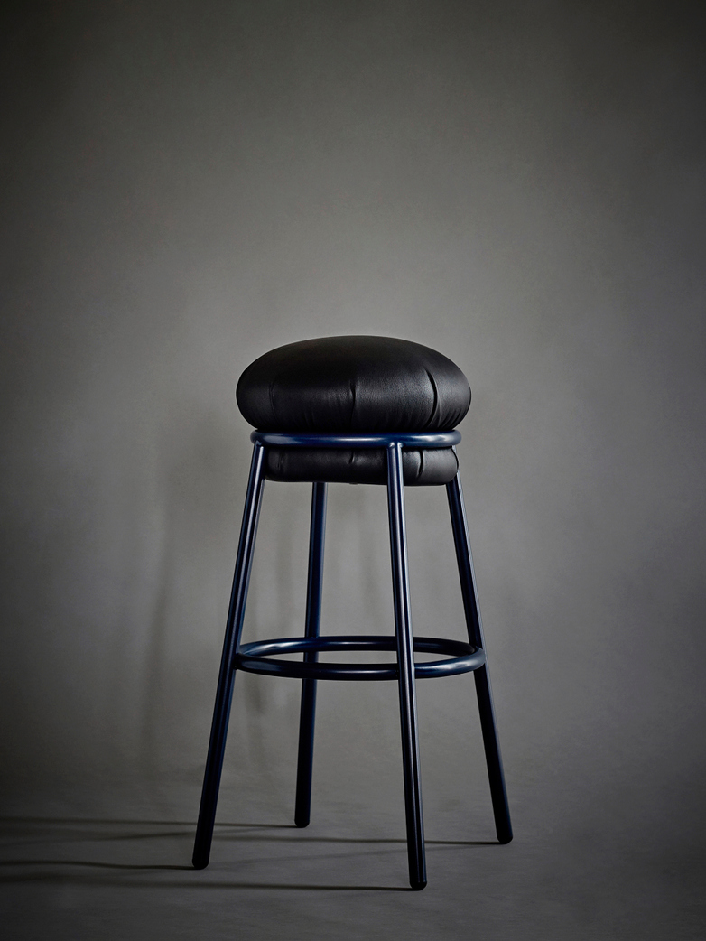 Grasso - Stool Black Leather and Blue Structure