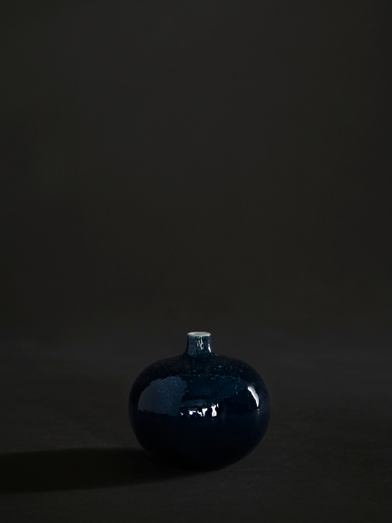 Bari Blue Freckles Vase – Small