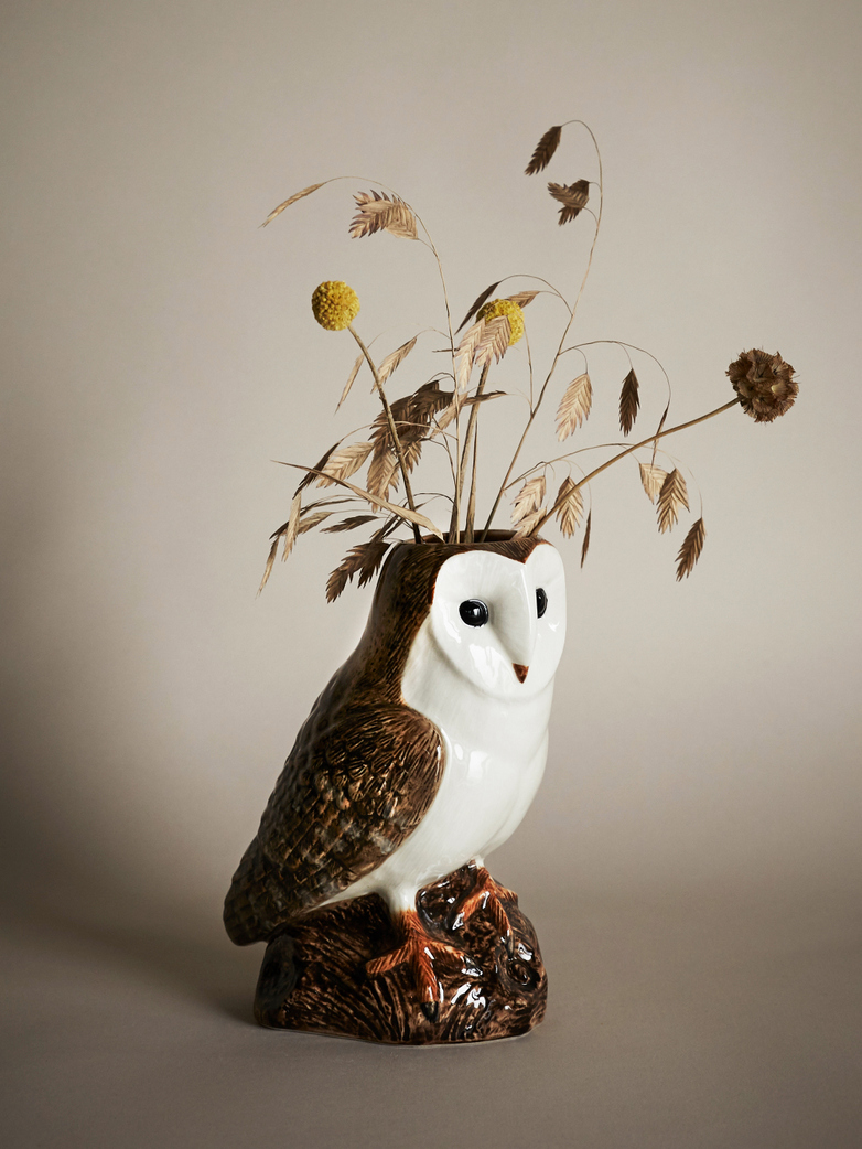 Barn Owl Flower Vase