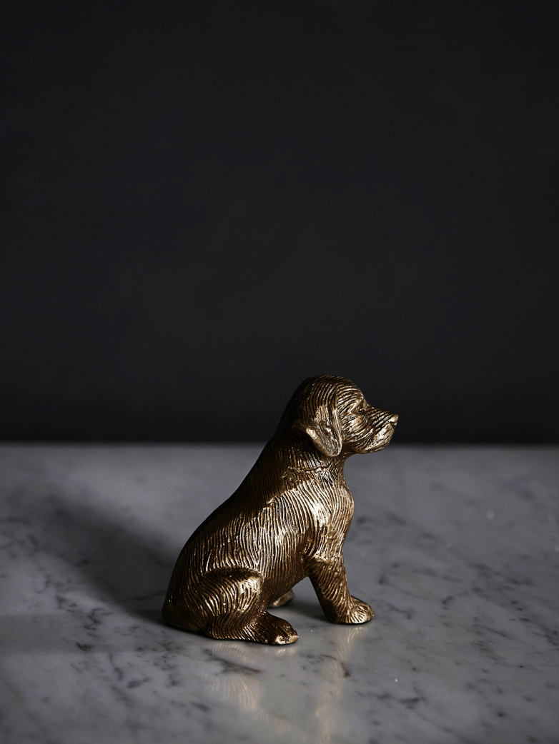 Sitting Dog Brass Paperweight
