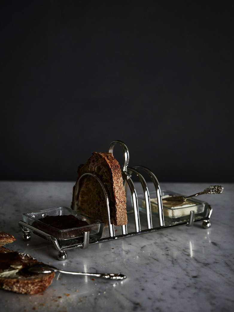Toast Stand with Knife and Spoon