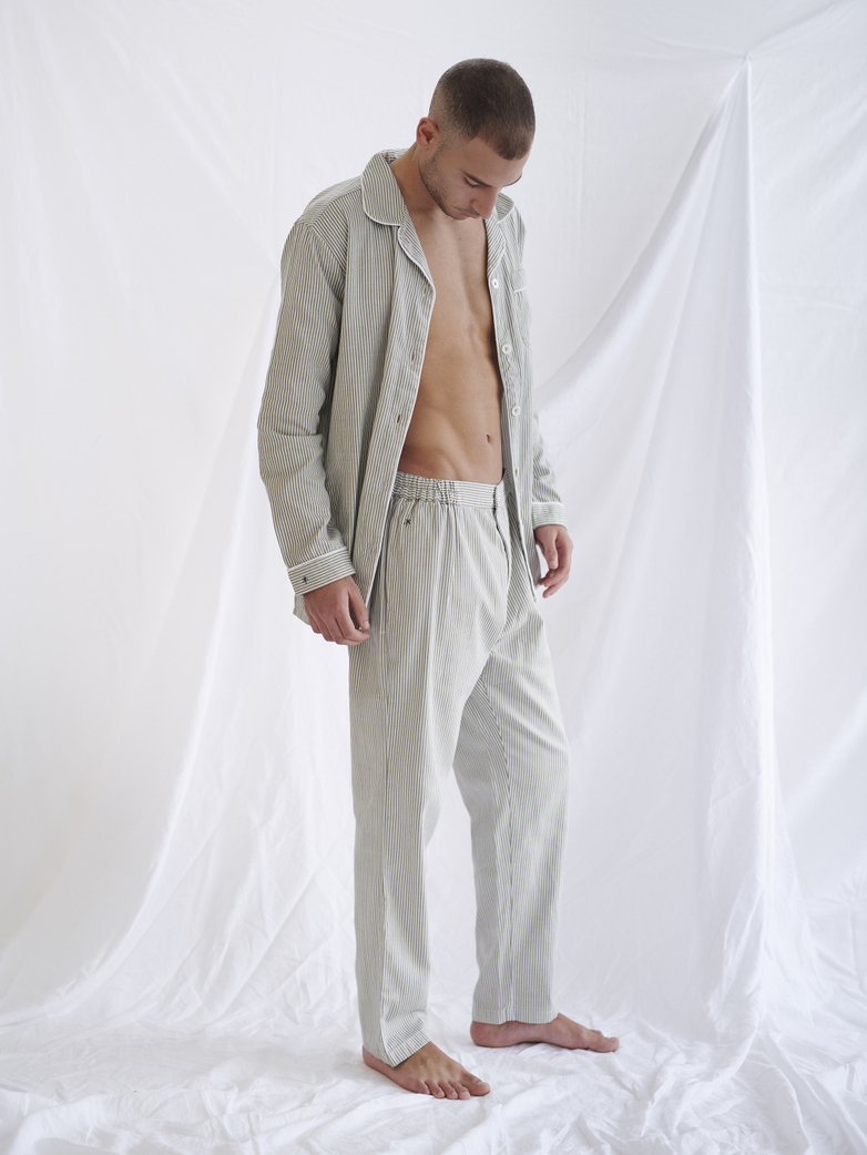 Button Trousers – Concrete/White
