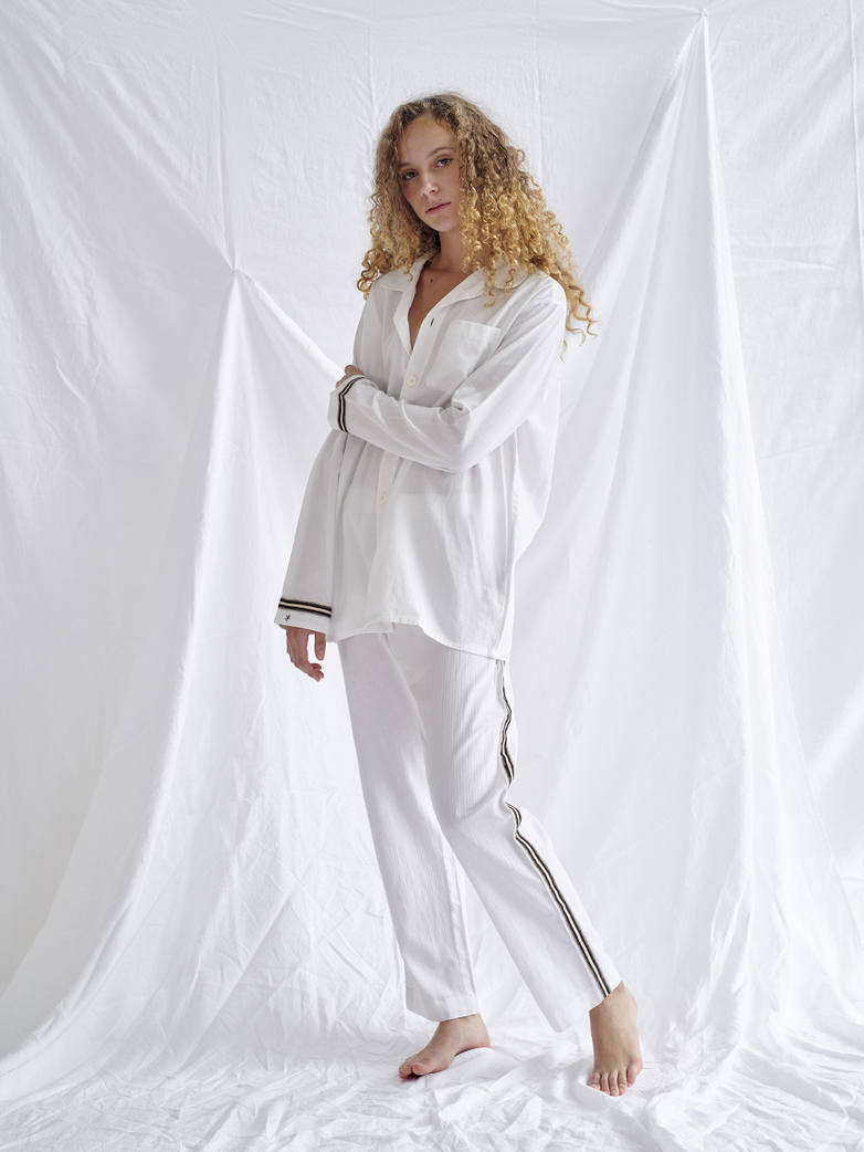 Pyjama Shirt – White/Sand/Black