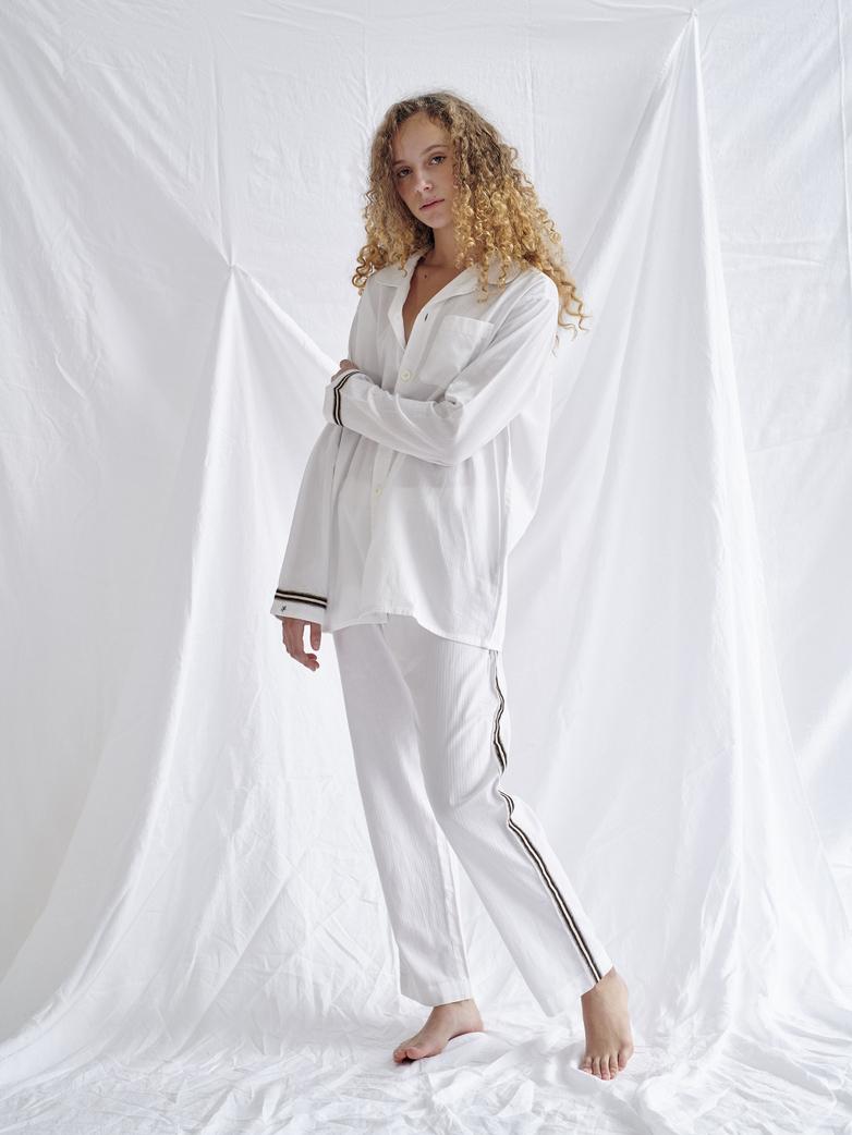 Pyjama Shirt – White/Sand/Black