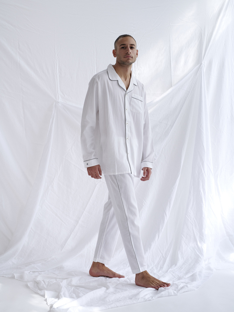 Pyjama Shirt – White/Coffee/White