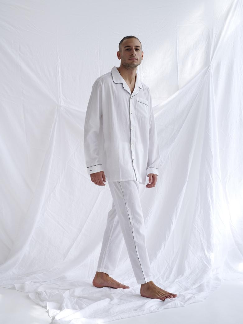Pyjama Shirt – White/Coffee/White