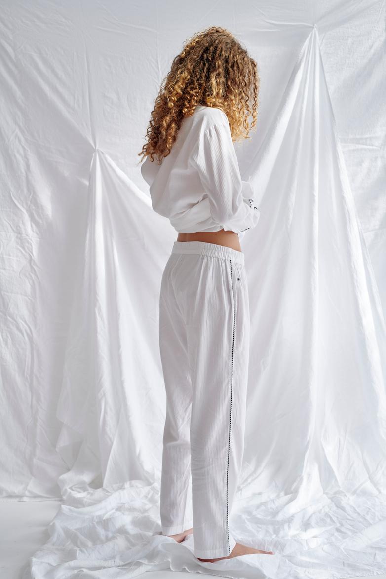 Button Trousers – White/Coffee/White