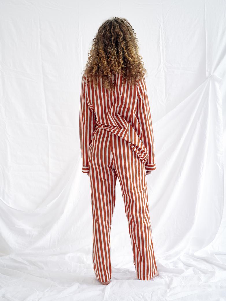 Button Trousers – Caramel/White