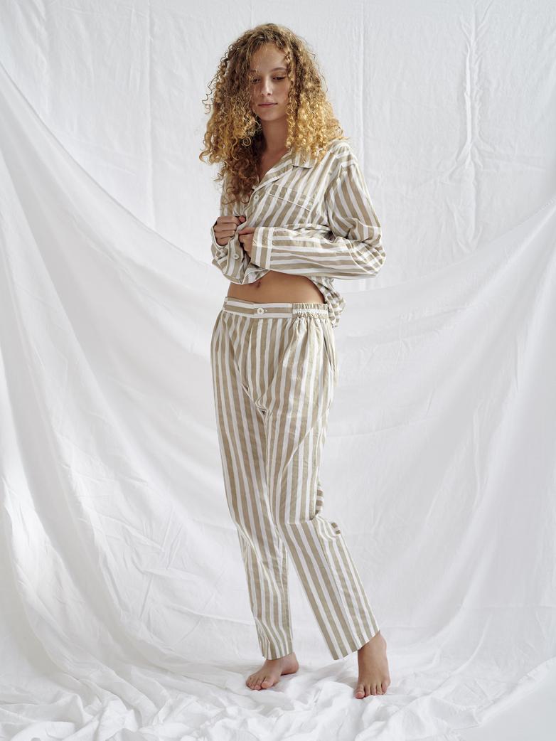 Button Trousers Wide Stripes – Concrete/White