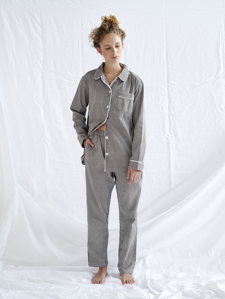 Pyjama Shirt – Coffee/White
