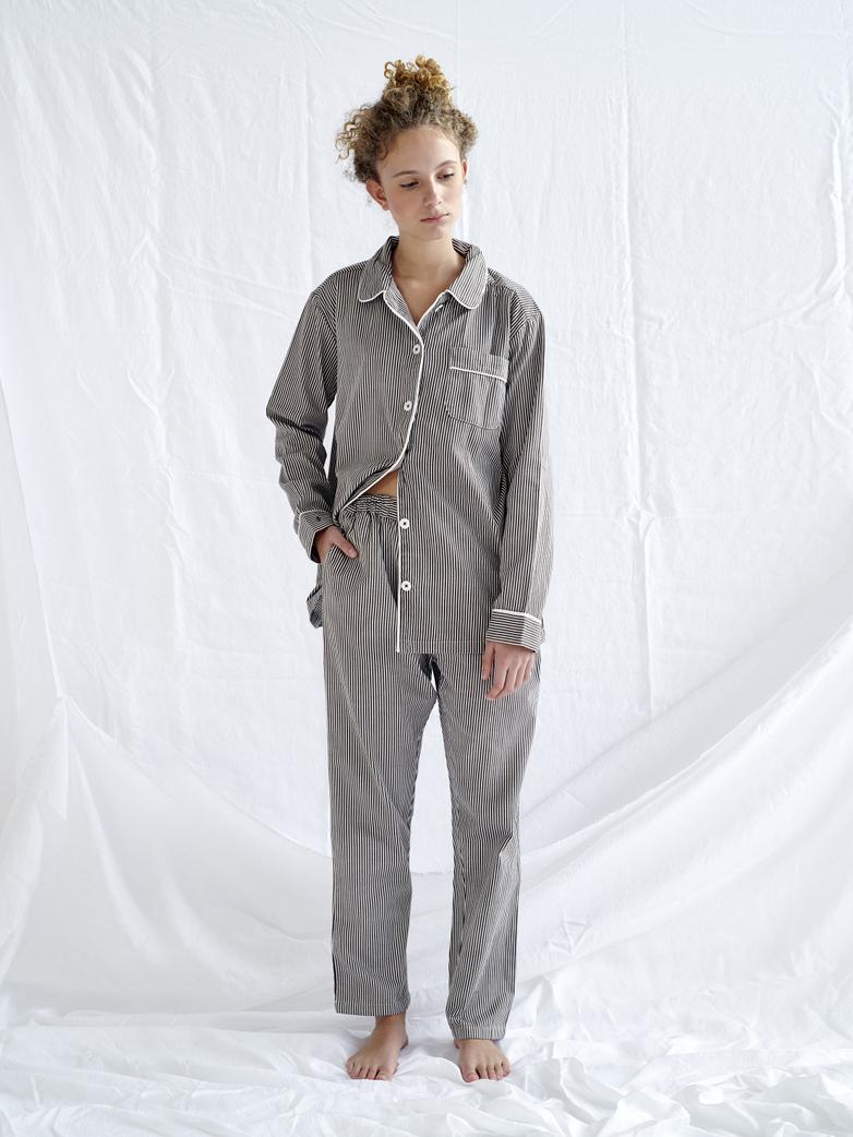 Pyjama Shirt – Coffee/White
