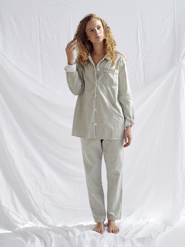 Pyjama Shirt – Concrete/White