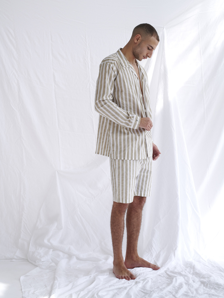 Pyjama Shirt Wide Stripes – Concrete/White