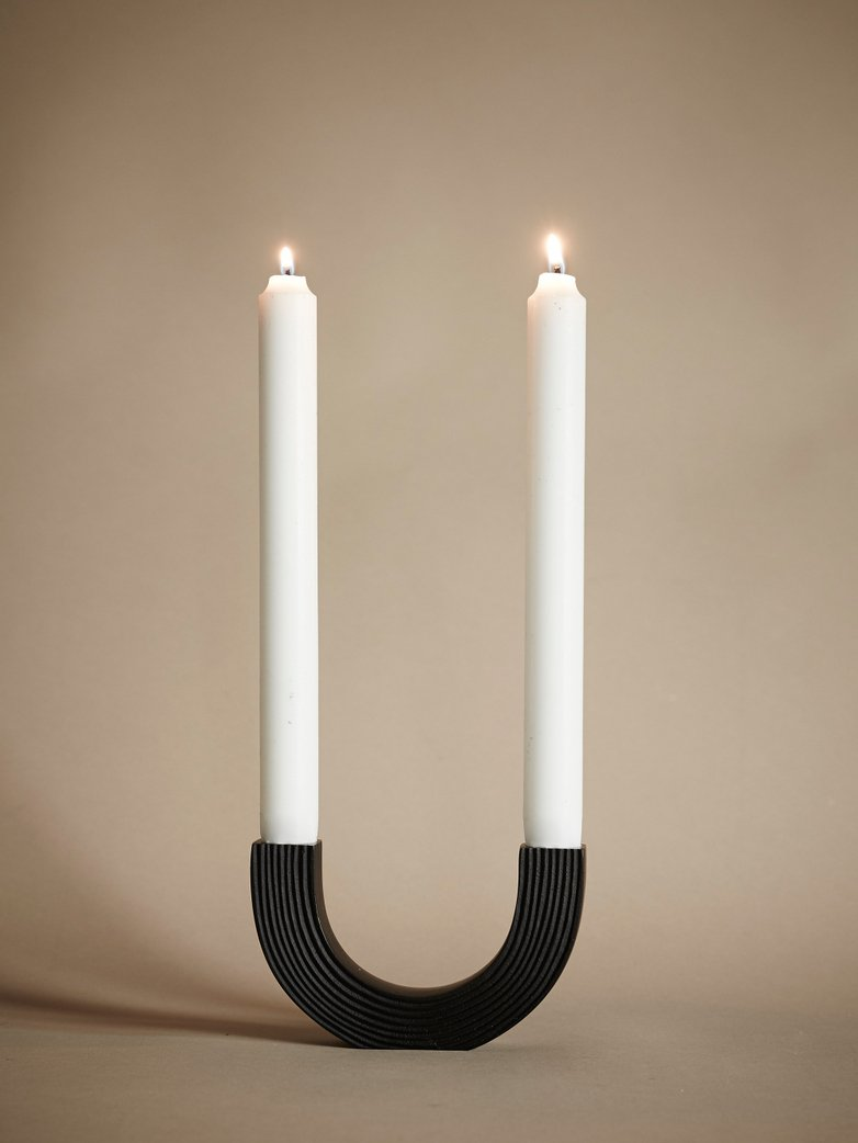 Arch Candle Holder – Black Brass