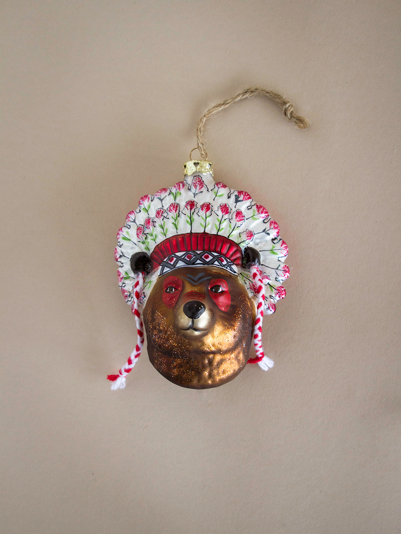 Bear Chief Ornament – Brown