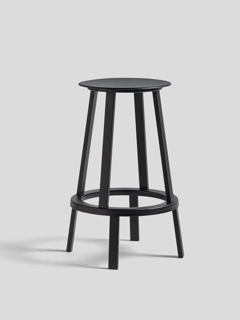 Revolver Bar Stool Low - Black Powder Coated