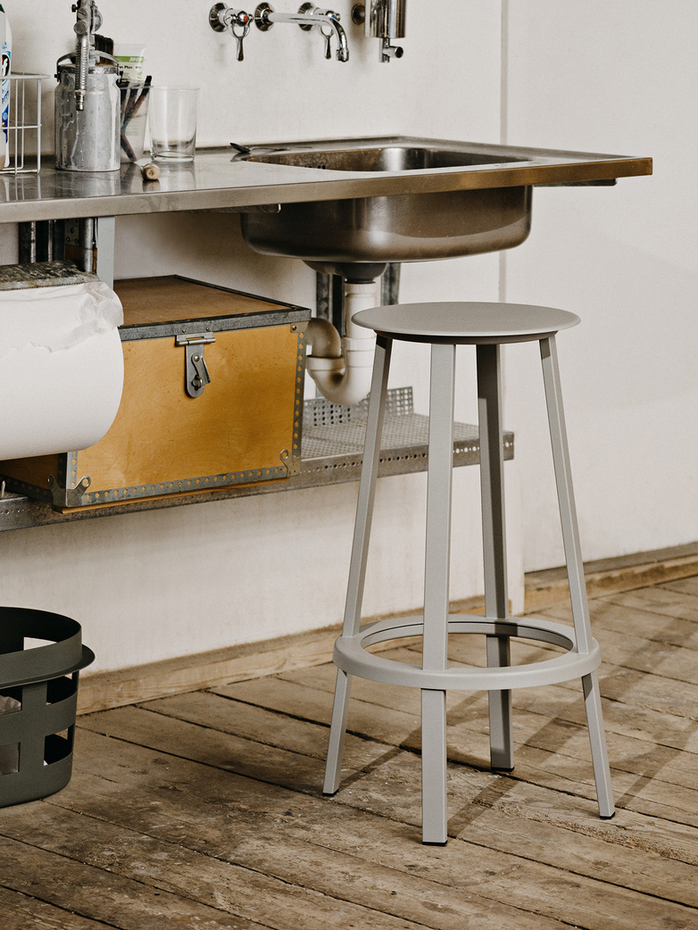 Revolver Bar Stool Low - Sky Grey Powder Coated