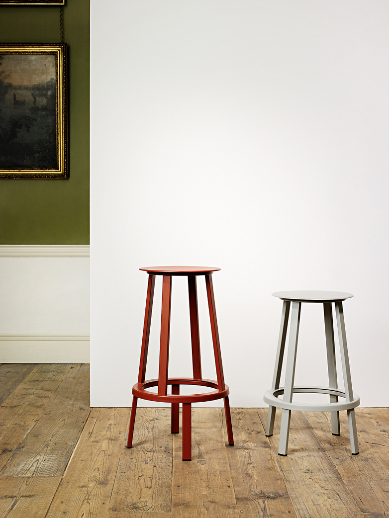 Revolver Bar Stool High - Sky Grey Powder Coated
