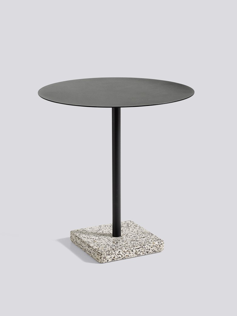 Terrazzo Round Table - Grey Terrazzo - Anthracite powder coated